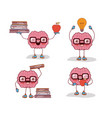 brain cartoon set with glasses and books and apple vector image vector image