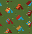 camping tents seamless pattern background vector image