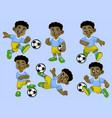 cartoon black kid soccer player set vector image vector image