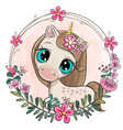 cartoon unicorn with flowers on a pink background vector image vector image