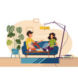 couple of guy and girl sitting on couch at home vector image