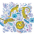 decorative print with yellow leopards vector image