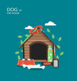 dog in the house flat style design vector image vector image