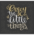 Enjoy the little things for hand drawn letter vector image