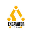 excavator logo design backhoe service black and vector image vector image