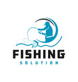 fish fishing logo design vector image