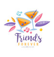 friends forever logo design colorful creative vector image vector image