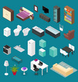 furniture element set isometric view vector image vector image