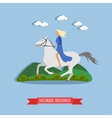 Girl riding a horse flat design vector image vector image