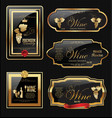 golden wine label collection vector image
