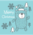 hand draw christmas bear vector image