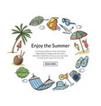 hand drawn summer travel elements vector image vector image