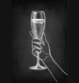 hand holding a glass of champagne vector image