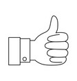 hand thumb up icon in monochrome silhouette vector image