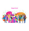 happy crowd with raised hands celebrates victory vector image