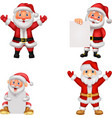 happy santa clause cartoon with sign vector image vector image