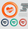 heart icon on red blue green orange buttons vector image vector image
