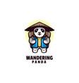 logo wandering panda mascot cartoon style vector image