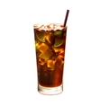 Long island ice tea cocktail realistic vector image