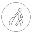 man with suitcase icon black color in circle vector image vector image