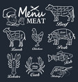 meat menu set of butcher shop labels vector image vector image