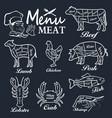Meat menu set of butcher shop labels