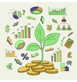 Money tree sprout and financial symbols vector image vector image
