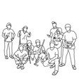 nine people in group holding tools vector image vector image