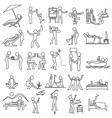 outline relaxation icon set simple draw vector image vector image