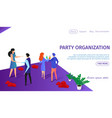 party organization horizontal banner with couples vector image vector image