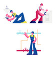 plumbers call master repair service set isolated vector image
