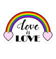 rainbow with hand drawn inscription vector image