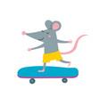 rat on skateboard vector image vector image