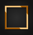realistic square shiny gold frame vector image vector image