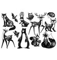scandinavian animals forest dwellers nordic vector image