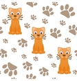Seamless pattern with cartoon cat and paws vector image