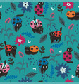 seamless pattern with cats - ladybirds graphics vector image vector image