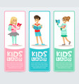 set of banners with cheerful teens holding books vector image vector image
