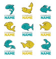 set of fish logo icons signs symbols and vector image