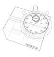 stopwatch with cardboard box sketch vector image vector image