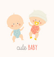 two cute babies lying with baby pacifier toddler vector image vector image