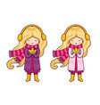 two cute blonde little girls in pink coats and a vector image vector image