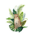 watercolor card with leopard and green vector image vector image