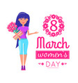 womens day on 8 of march greeting card with girl vector image vector image
