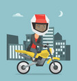young caucasian woman riding a motorcycle at night vector image vector image