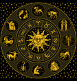 Zodiac wheel astrology horoscope with circle sun