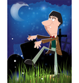 Zombie in the night cemetery vector image vector image