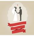 Vintage wedding invitation with bride and groom vector image