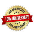 10th anniversary round isolated gold badge vector image vector image