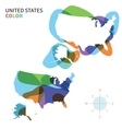 Abstract color map of United States vector image